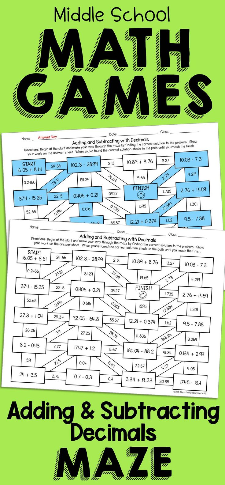 Decimal Addition and Subtraction Maze Decimal