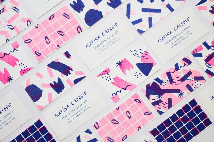 "Personal Business Cards by Marina Cardoso  ""Risograph business cards (9x5cm) printed in 2 colors by Selva Press.""  Marina Cardoso is a freelance illustrator and designer based in Vitória, Brazil. She is focused on print design, graphic design, branding..."