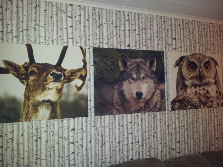 nature interior,  made deer, wolf, owl on fabric into wall art :)  Just stretch the fabric over a simple canvas with help of a stapler decor