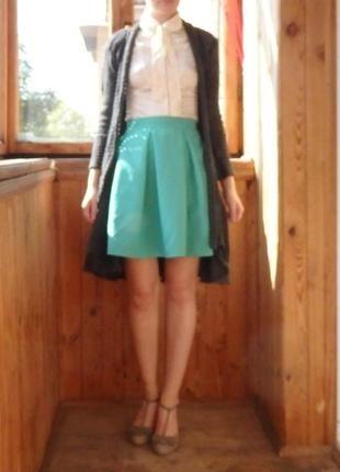 Новая пастельная мятная бирюзовая юбка в складку, юбка-солнце р. xs-s