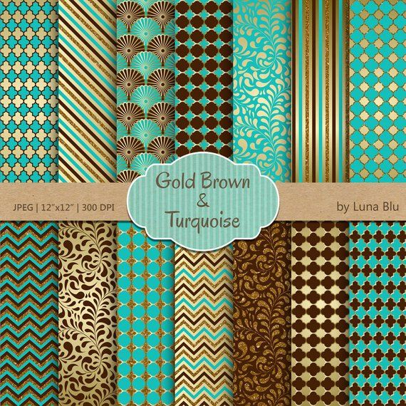 Get Teal And Brown Digital Scrapbook Papers Crafter Files