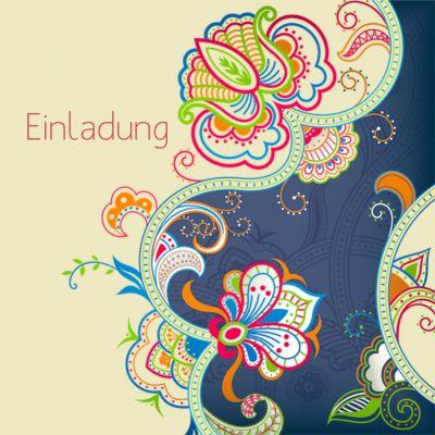 Elegante Einladungskarte mit dekorativen Blumenornamenten in stilvollen Farben auf beigem Hintergrund. (Hinweis: Für quadratische Karten fallen extra Portokosten an). #Blumenornament#40#Party#Geburtstag#Einladung#birthday#EinladungGeburtstag.de