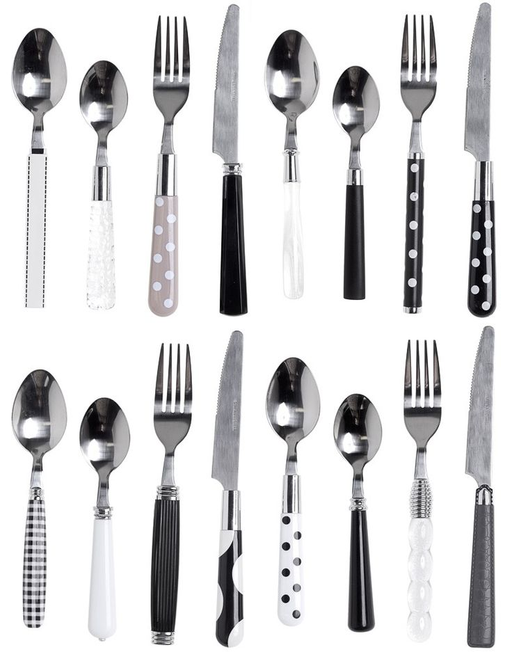 MIX AND MATCH BLACK & WHITE CUTLERY SET  You can't get any cuter than polka dots! Featuring mix and match black, white, and gray polka dots this diverse set includes settings for four of your most special guests! Planning on feeding more? Just intersperse this set with your regular ol' stainless steel for a mix and match extravaganza! $34.00 #housewares #mixandmatch #cutlery