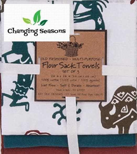 Southwestern Home Decor Kitchen Flour Sack Towel Set of 3 Petroglyphs Design #KayDee