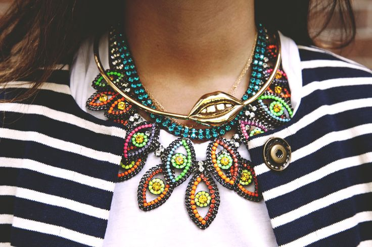 @Rebecca Minkoff's Top 5 Personal Style Rules: Wear statement necklaces with a basic t-shirt.: Man Repeller, Style, Layered Necklace, Manrepeller, Necklaces, Accessories, Evil Eye