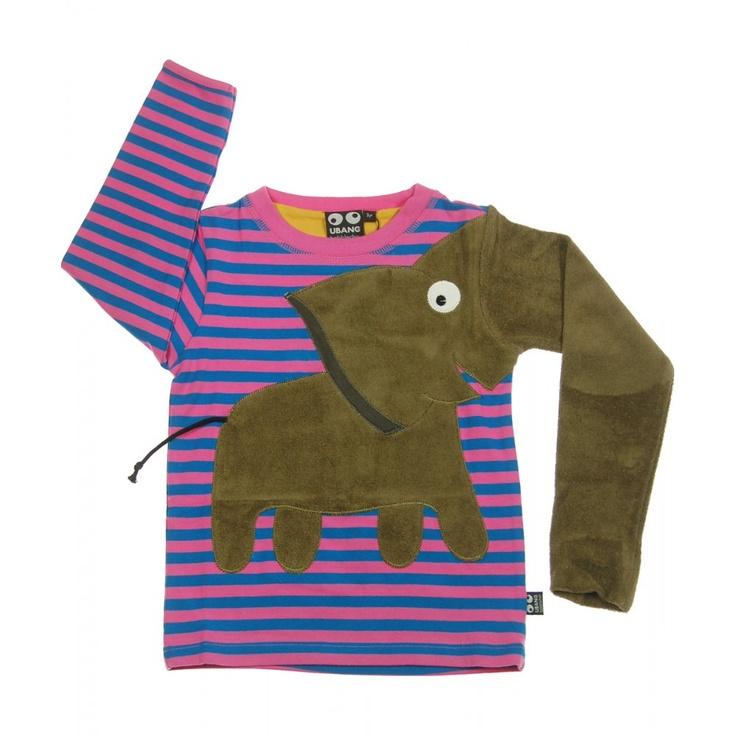 Ubang Babblechat magenta and blue stripe elephant long sleeved t-shirt