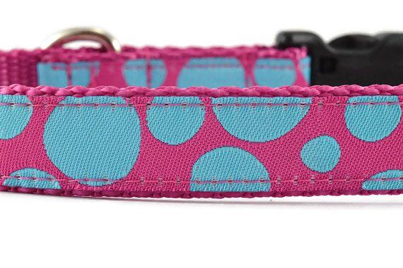 Pink Dog Collar and Leash, spots dog collar, polka dot dog collar, girl dog collar, pretty dog collar, blue dog collar, fun dog collar