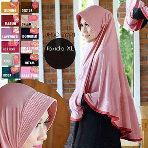 Hijab Instan Bergo Pocket Mini (Uk. XL) Model Kekinian dengan pet antem dan saku depan, dan aksen lis kain di sekeliling ujung jilbab. Ket : ukuran panjang