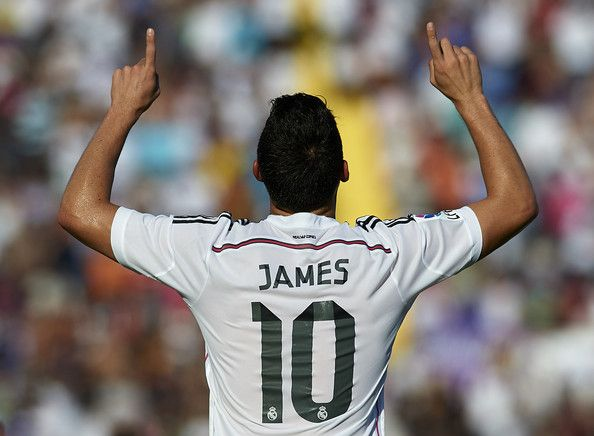 James Rodriguez Photos Photos - James Rodriguez of Real Madrid celebrates after scoring during the La Liga match between Levante UD and Real Madrid at Ciutat de Valencia on October 18, 2014 in Valencia, Spain. - Levante UD v Real Madrid CF - La Liga