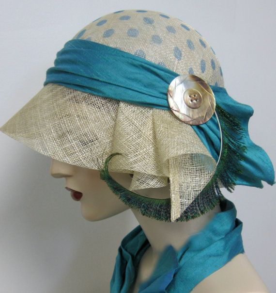 1920's Turquoise Polka Dot Cloche by orsinimedici1951 on Etsy, $118.00