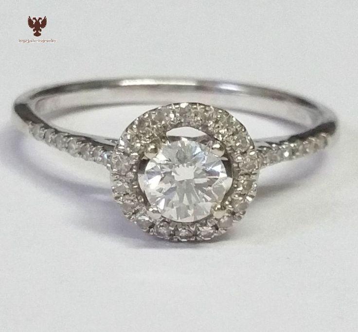 Halo-Diamond With 0.60ctw 14k White Gold Ladies Engagement Wedding Ring Sz 5-12 #br925 #ThreeStone