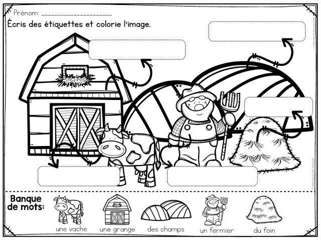 Centre d'écriture | Centres d'apprentissage | ressource GRATUITE pour la maternelle | animaux de la ferme | étiquettes en maternelle | apprendre à écrire