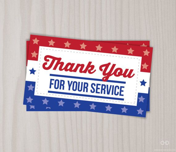Instant Download Veterans Day Thank You Cards by DearHenryDesign