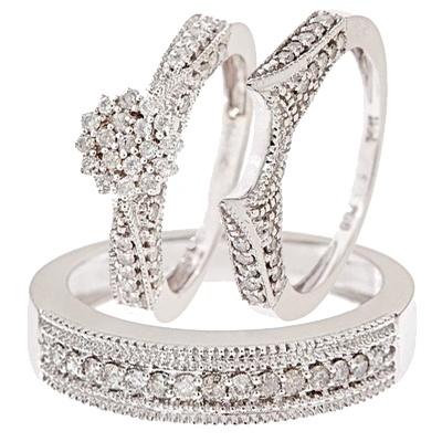 1 carat diamond trio wedding ring set 14k white gold - His Hers Wedding Rings Sets
