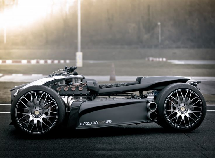 the lazareth wazuma V8F matte edition takes a ferrari engine and pairs it with a BMW M3 sequential gearbox, packing its ferocity in a matte black quad shell.