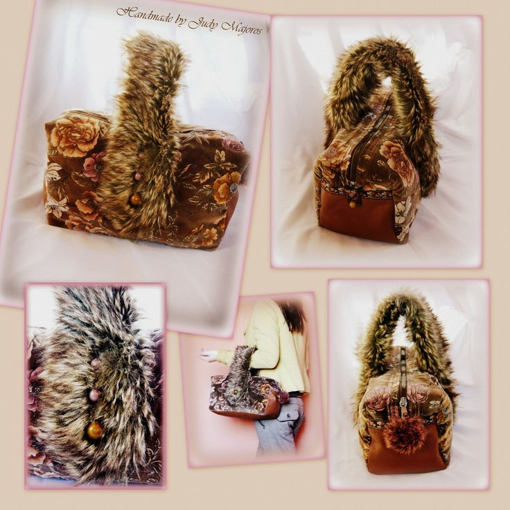 Handmade by Judy Majoros - Rose velvet faux fur and leather handbag-evening bag.Recycled bag