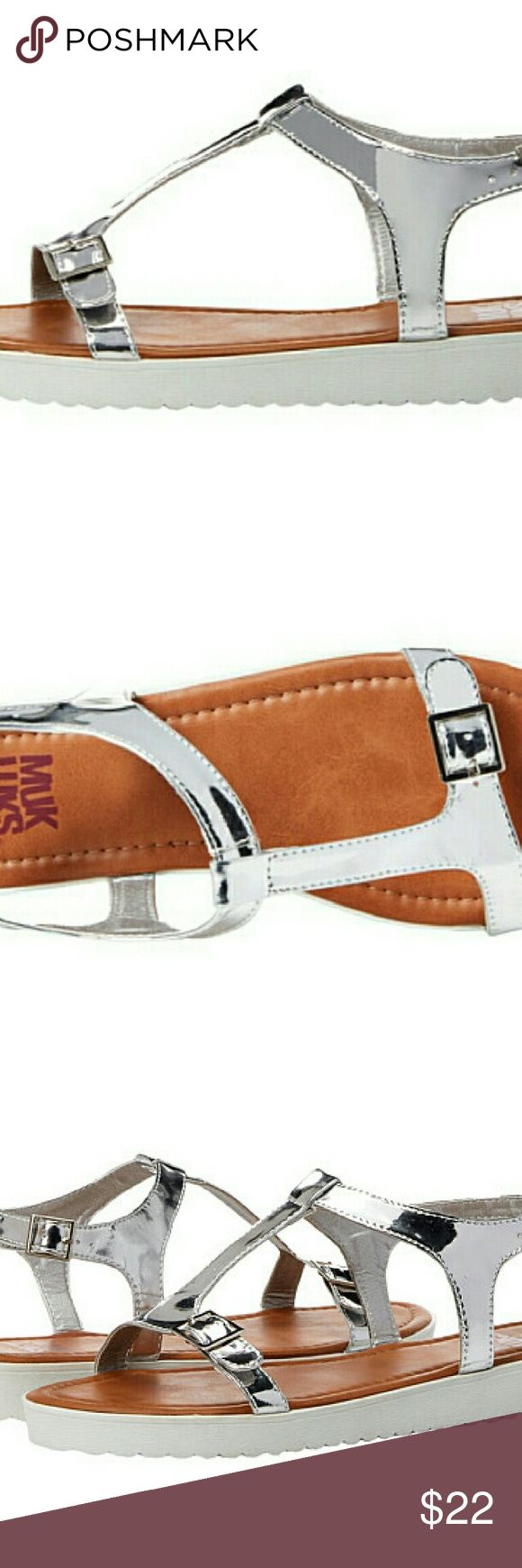 Muk luks silver flat sandals Silver, metallic, trendy, brand new Muk Luks Shoes Sandals