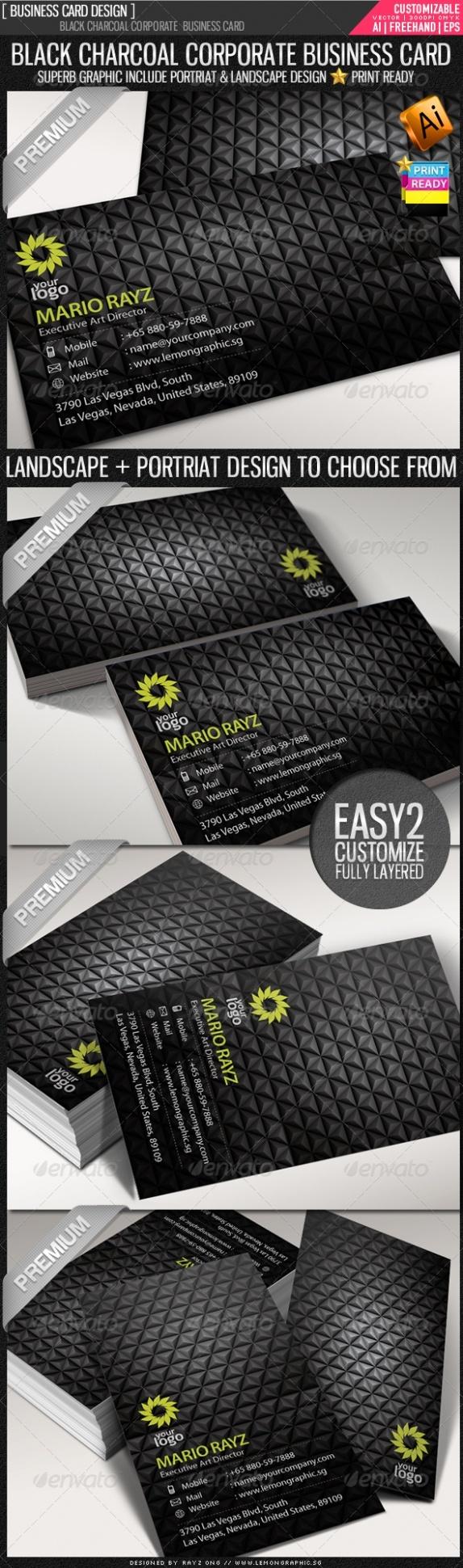 Black Charcoal Corporate Visit Card Template best namecard