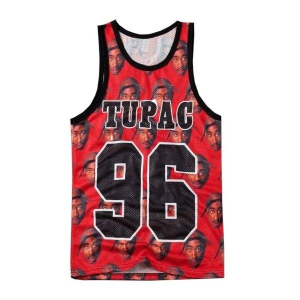 Tupac 96 Print Unisex Basketball Vest ($21) ❤ liked on Polyvore featuring tops, shirts, jersey, t-shirts, vest shirt, pattern tank top, red shirt, shirts & tops and red tank