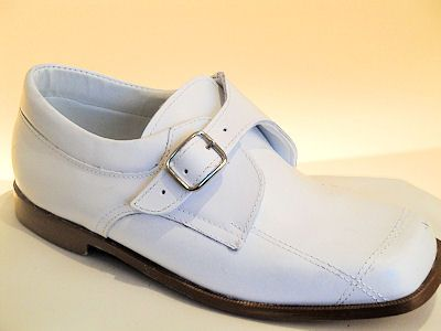 Boys White Leather First Communion Shoes- Sebastian Le Blanc - 5391 - Slip on Communion Shoes - Size 12,13,1,2,3,4,- White First Holy Communion Shoes
