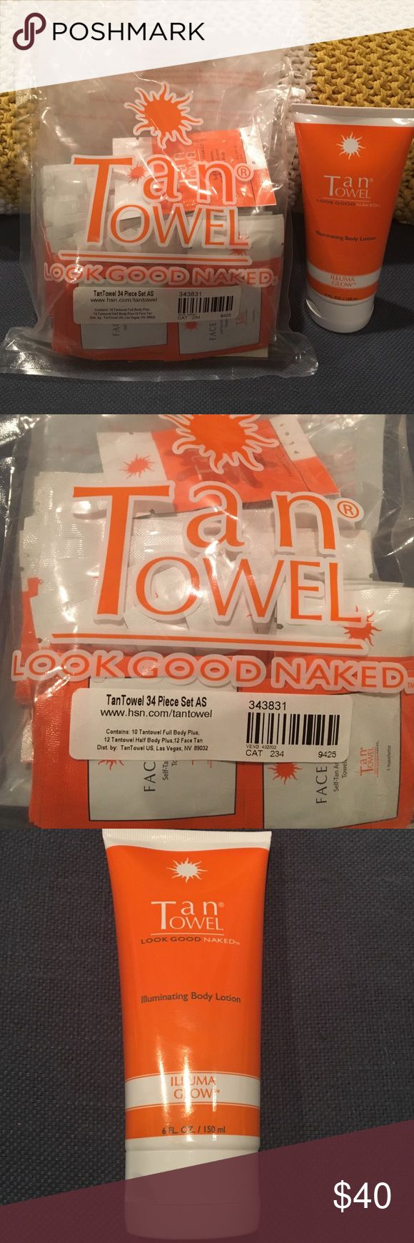 Tan towel and illuminating body lotion 34 piece set of tan towels and 6oz of tan towel illuminating body lotion 👙☀️ Other