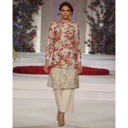 Double Layered Tunic with Multicolor Floral Motifs