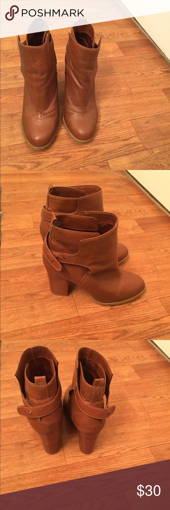 H&M Tan leather ankle boots Super cute tan ankle boots from H&M. Chunky heel, easy to walk in, great for fall and winter weather. Too big for me, only wore a couple times. Heel may be about 3-4 inches Shoes Ankle Boots & Booties
