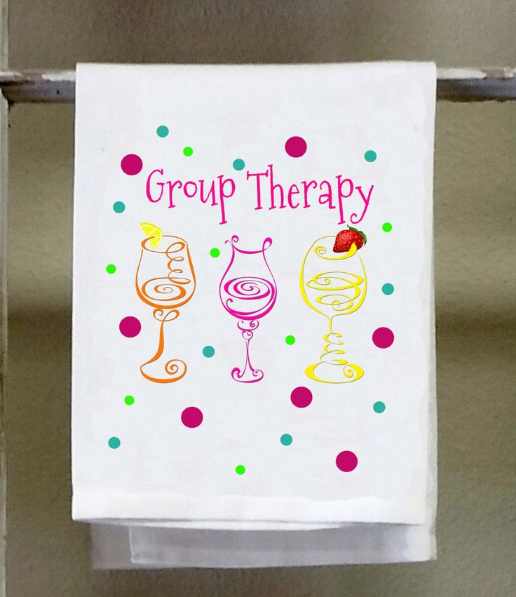 Wine Group Therapy, Kitchen Towel,Dish Towel, Polka Dots, Neon Colors, Wine Glasses, white tea towel by barandbistroco on Etsy