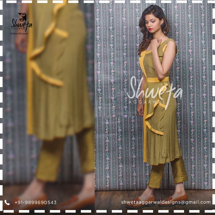 Life too short to wear boring clothes! Shop for this beautiful olive-green dress now:  #OliveGreen #OliveDress #GreenDress #PartyWear #ReadyToWear #ShwetaAggarwal #DesignerClothing #India #fusion #Craftbased #clothing #CustomMade