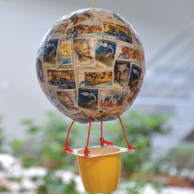 Κατασκευή για Παιδιά Αερόστατο με Γραμματόσημα : kidsfun.gr