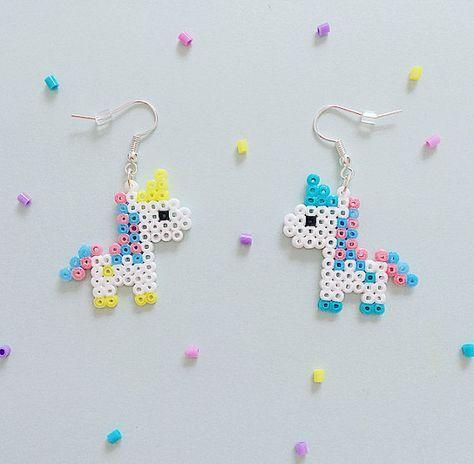 Bubble-Gum Unicorn Hama Perlen Ohrringe von GeekGirlWorkshop