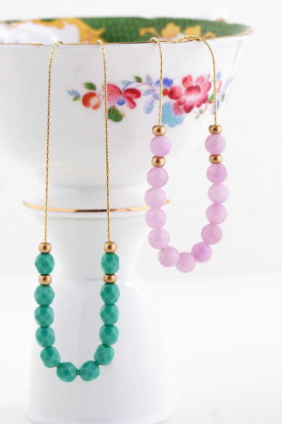 Delicate Beaded Necklace Gold Plated Chain by JacarandaDesigns