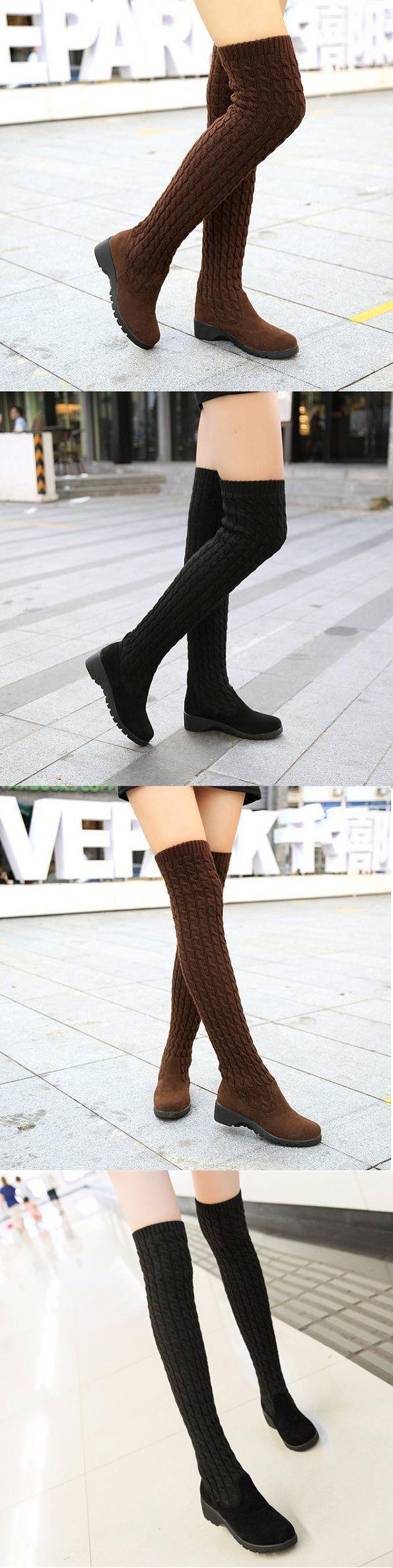 US$19.54 Knitting Wool Over The Knee Chic Slip On Muiti-Way Platform Boots