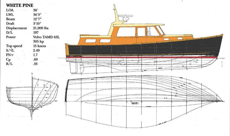 White Pine 38 Downeast Cruiser. Lobster Boat Hull with Cruiser Accommodation ~ Power Boat Designs by Tad Roberts