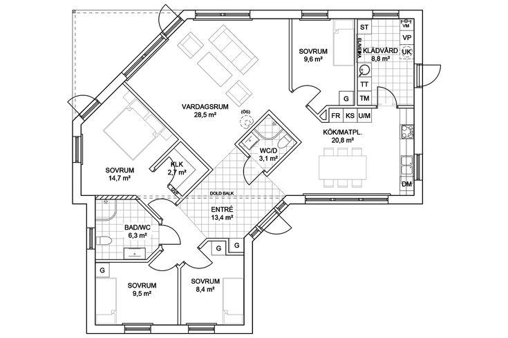 Anebyhus Geometri - enplanhus med spännande vinklar - Anebyhusgruppen
