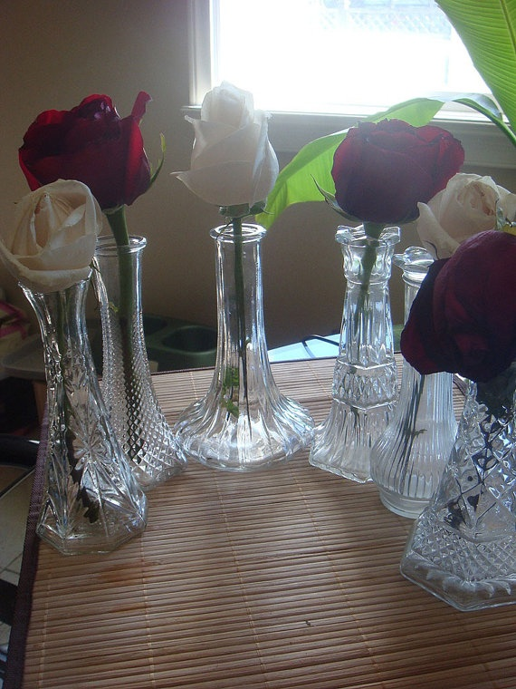 Vintage Clear Glass Vase Set of 6 by BreatheDecor on Etsy, $18.00