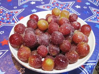 Wine Grapes -- easy to make, we soaked the grapes for about 24 hours though, so it needs to be done ahead of time. Everyone loved these, whoever had the bowl couldn't put it down.