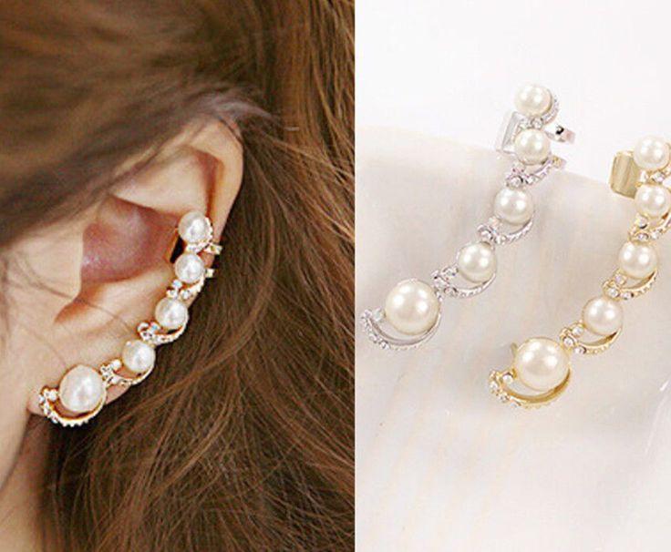 Be special: Ear Hook Plated Rhinestone Stud Ear Clip Earrings ...