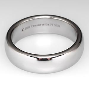 mens tiffany lucida wedding band ring 6mm wide platinum retail 2150 - Grooms Wedding Ring