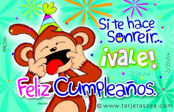 Frases De Mono: Tarjeta De Cumpleaños Para Sonreír-Mono Manolo Haciendo