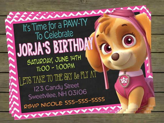 Paw Patrol Skye Birthday Party Invitation by PYOpartyinvites