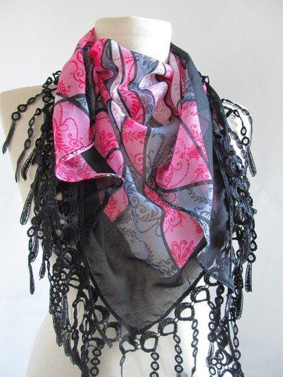grey scarf Tringle Turkish Yemeni Lace Scarf turkish by asuhan, $15.00