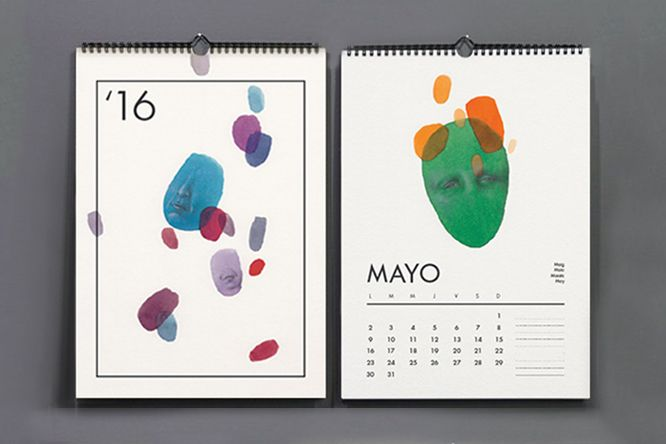 Calendario '16 , para el año 2016 , Silvia Carmona . Creación de ilustraciones y diseño para un calendario mensual . Ilustraciones realizadas con anilina y grafito . Tamaño A5 .