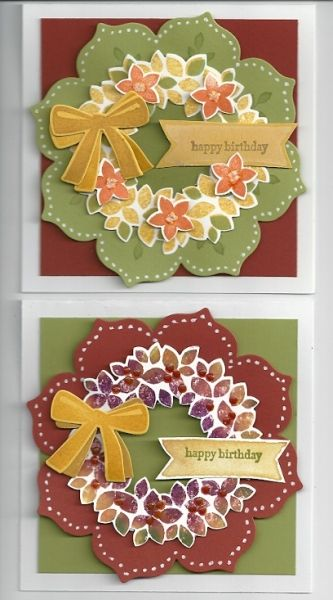 Stampin' Up! ... handmade cards ... wreaths for all seasons ... floral thinlits die cuts with Wondrous Wreaths on top ... like white gel pin dots around the borders ...