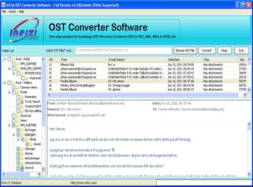 A well known Solution-OST to PST Recovery Tool is given by the InFixi groups to re-build OST file & recover OST to PST with original massages formats-TXT/HTML/RTF. By Exchange OST Recovery program you can recover data OST file from corrupt OST file. OST to PST software works on all OST file versions like- 5.0, 5.5, 2000, 2003, 2007, 2010 and 2013. OST to PST recovery software never damage your any file in any way.