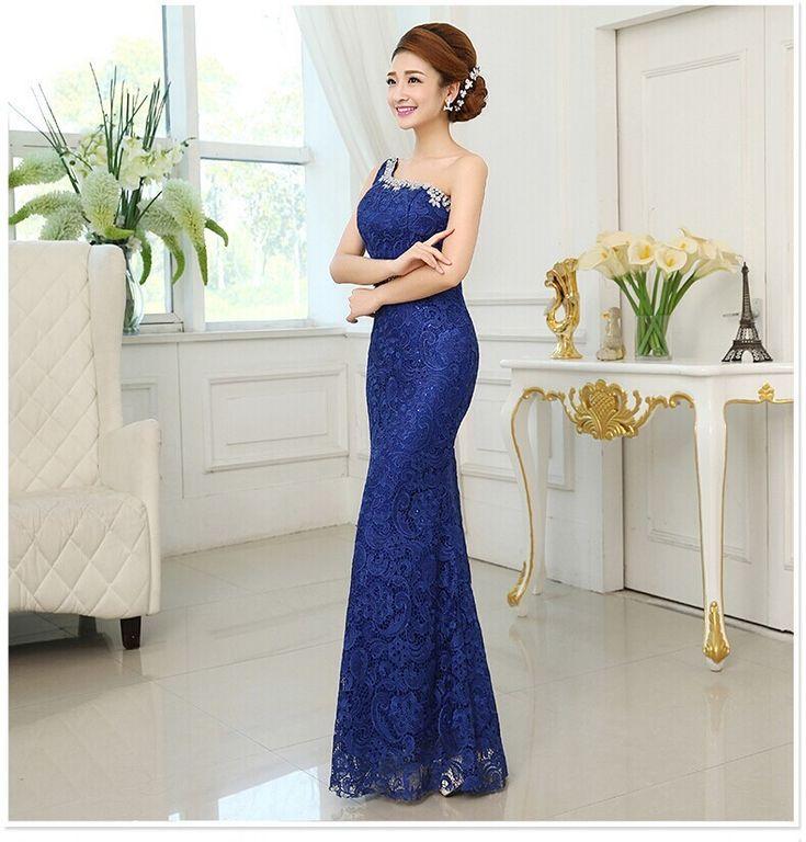 2015 вечерние платья русалка кружева длинные формальные vestido одно плечо летний стиль сексуальная элегантный дизайн для ну вечеринку шампанское синий красныйкупить в магазине Willen's storeнаAliExpress