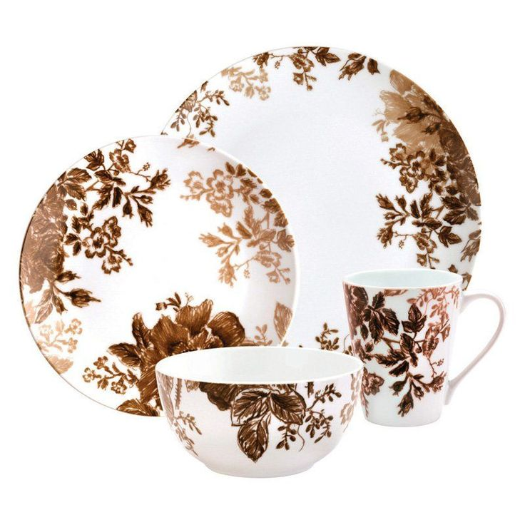 Paula Deen Tatnall Street Brown Dinnerware - Set of 16 - 58116