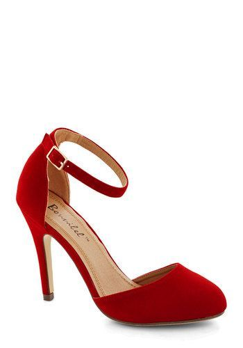 Dinner and Dancing Heel in Rouge - High, Faux Leather, Red, Solid, Prom, Wedding, Party, Cocktail, Girls Night Out, Holiday Party, Good, Var...