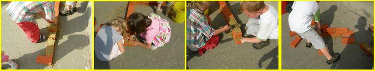 Buiten spelen - Metselen met water en zand.