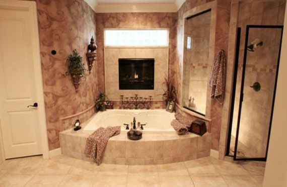 tub for two, fireplace, walk in shower - only I want a two sided fire place in between the bedro/bathroom